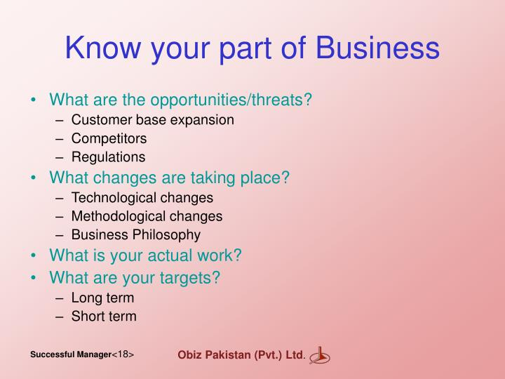 Know your part of Business