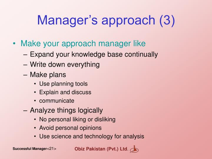 Manager's approach (3)