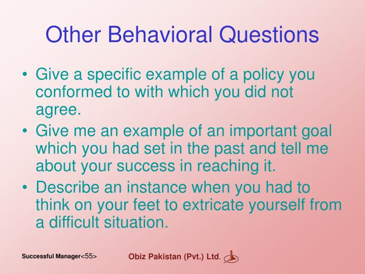 Other Behavioral Questions