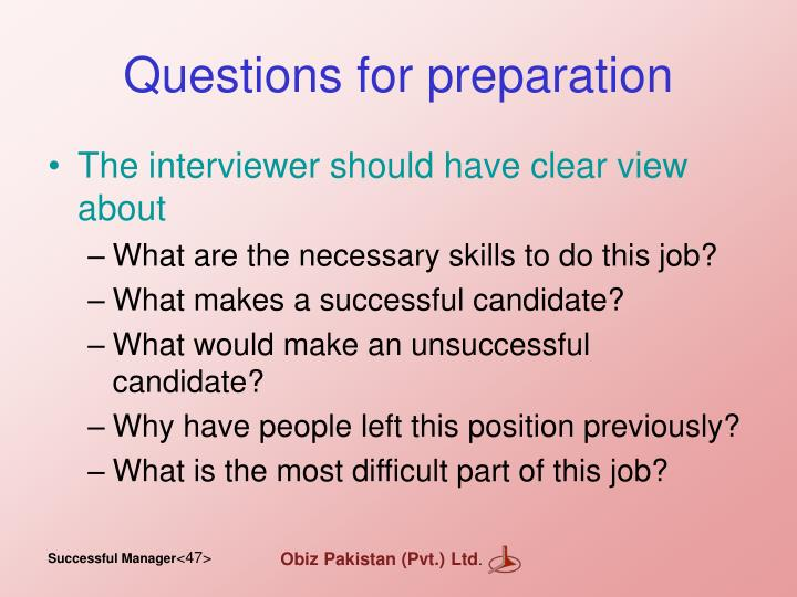 Questions for preparation
