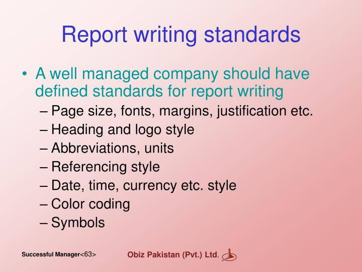Report writing standards