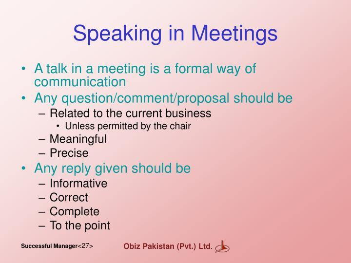 Speaking in Meetings