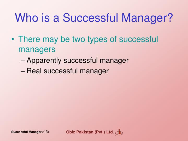 Who is a Successful Manager?