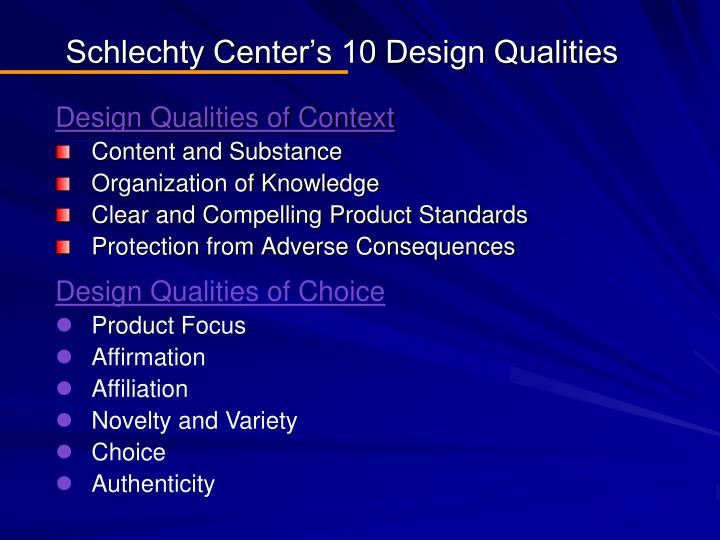 Schlechty Center's 10 Design Qualities