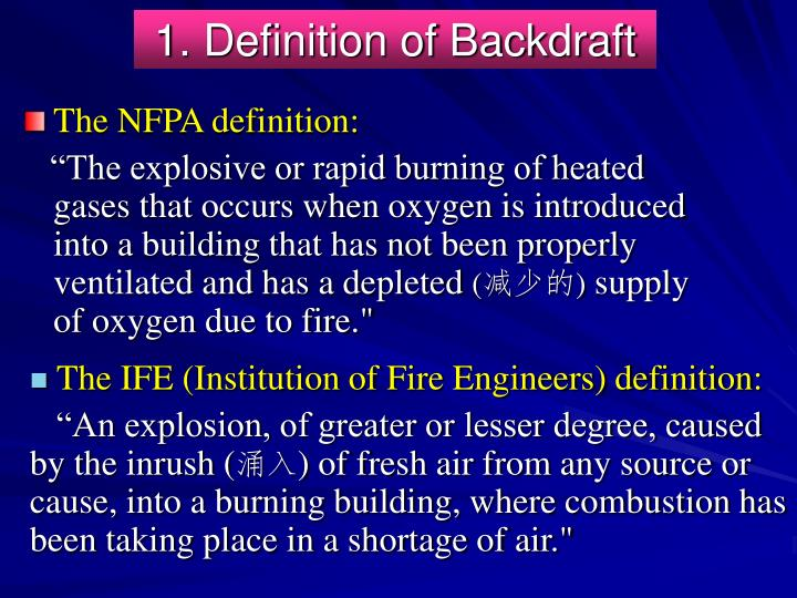 1. Definition of Backdraft