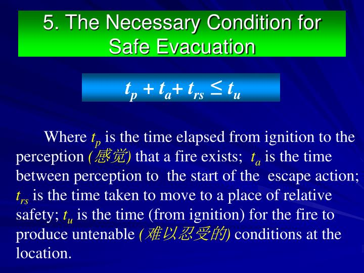 5. The Necessary Condition for Safe Evacuation