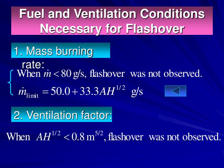 Fuel and Ventilation Conditions Necessary for Flashover