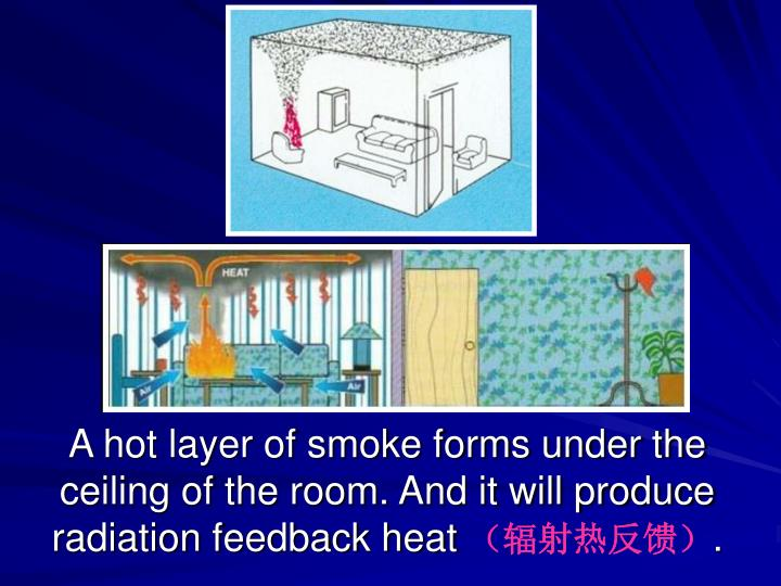 A hot layer of smoke forms under the ceiling of the room. And it will produce radiation feedback heat