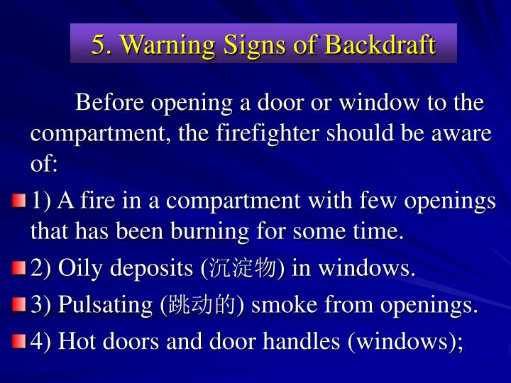 5. Warning Signs of Backdraft