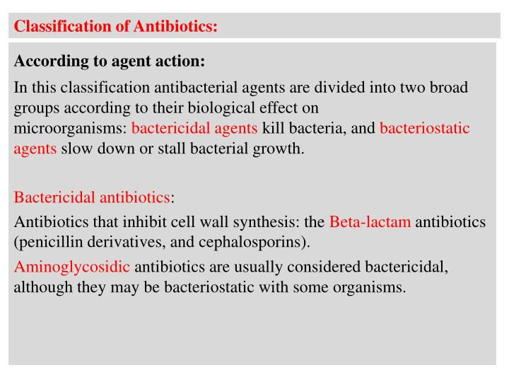 Classification of Antibiotics: