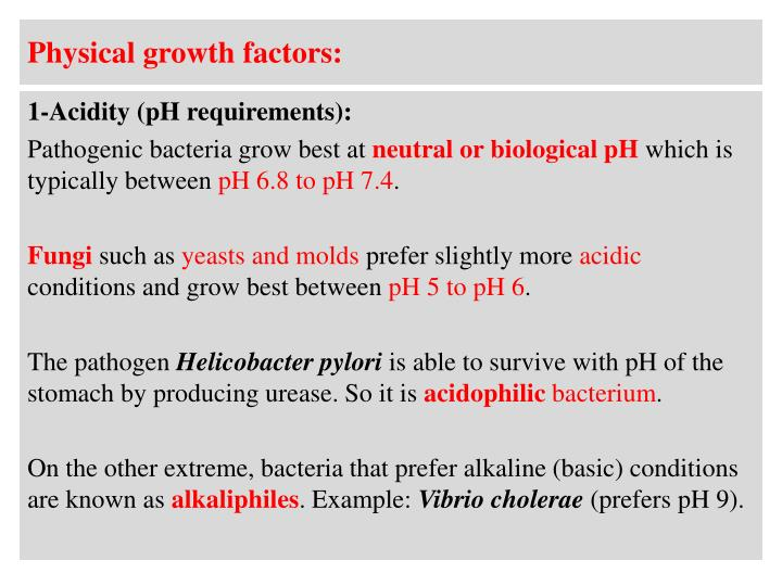 Physical growth factors: