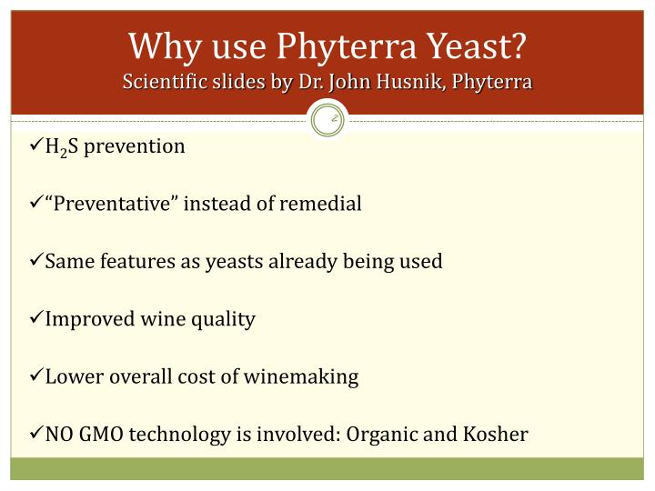 Why use phyterra yeast scientific slides by dr john husnik phyterra