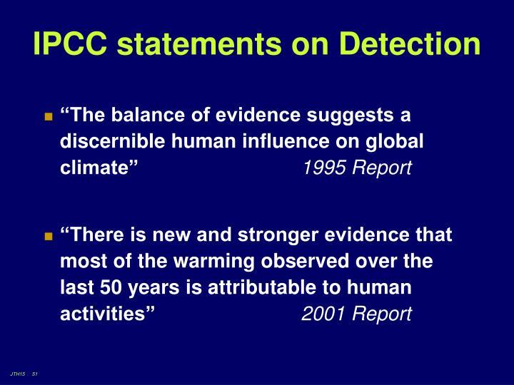 IPCC statements on Detection