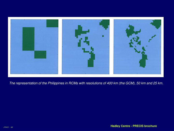 The representation of the Philippines in RCMs with resolutions of 400 km (the GCM), 50 km and 25 km.