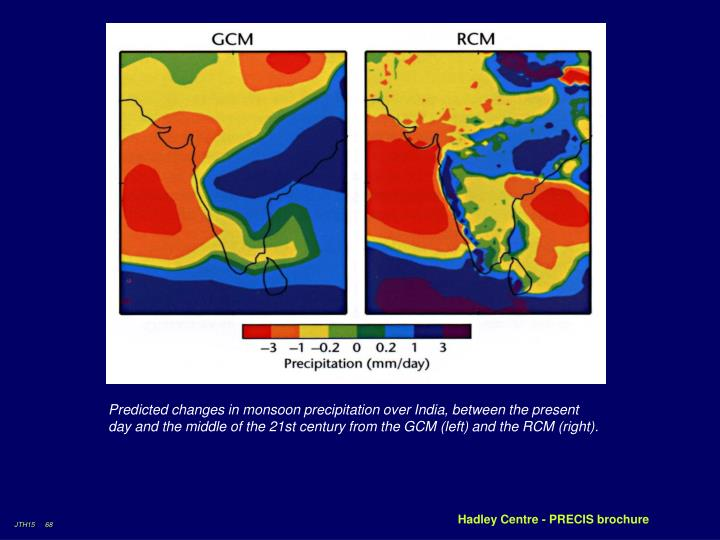 Predicted changes in monsoon precipitation over India, between the present day and the middle of the 21st century from the GCM (left) and the RCM (right).