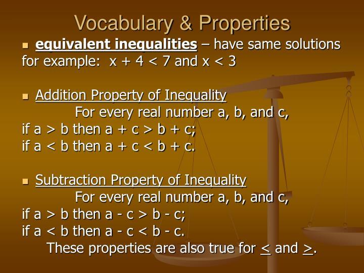 Vocabulary & Properties