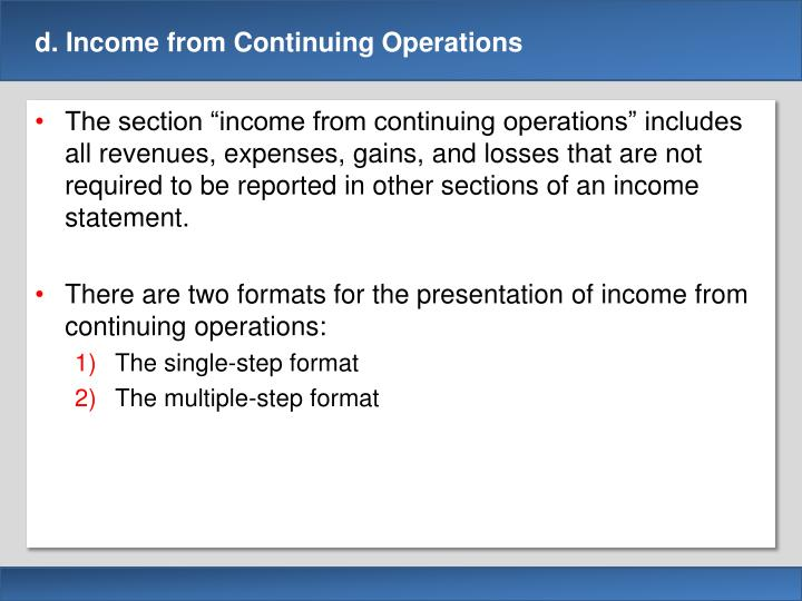 D income from continuing operations1