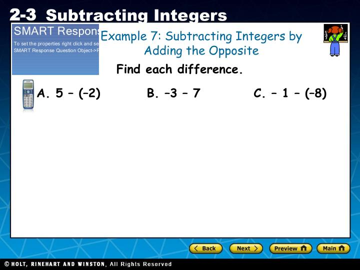Example 7: Subtracting Integers by Adding the Opposite