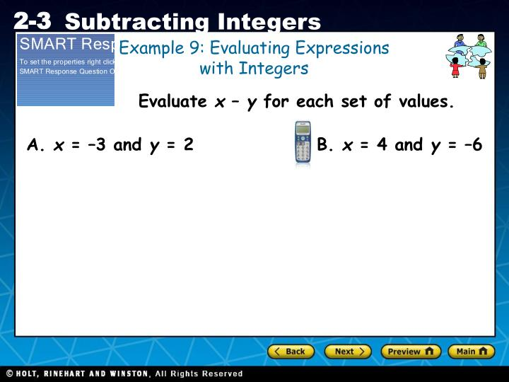 Example 9: Evaluating Expressions with Integers