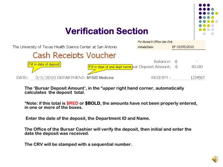Verification Section