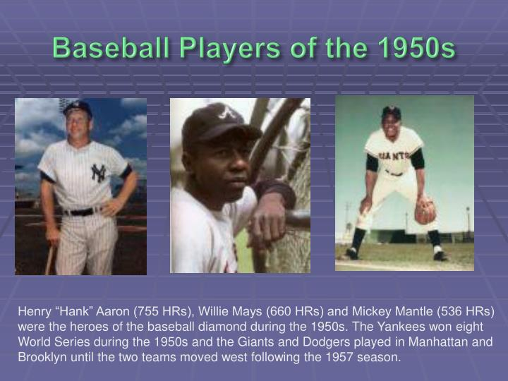 Baseball Players of the 1950s
