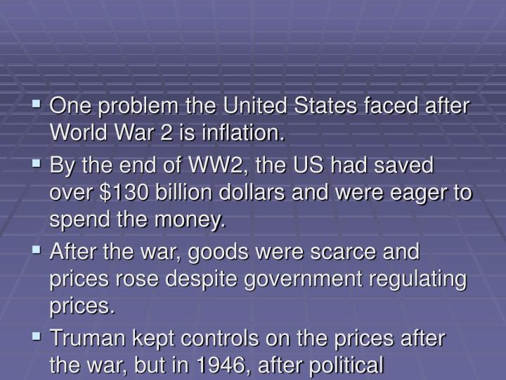 One problem the United States faced after World War 2 is inflation.