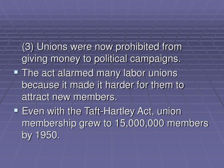 (3) Unions were now prohibited from giving money to political campaigns.