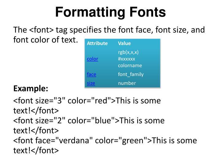 Formatting Fonts