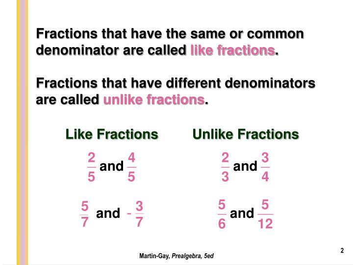 Fractions that have the same or common denominator are called