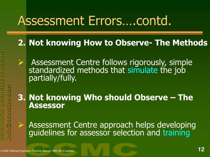 Assessment Errors….contd.