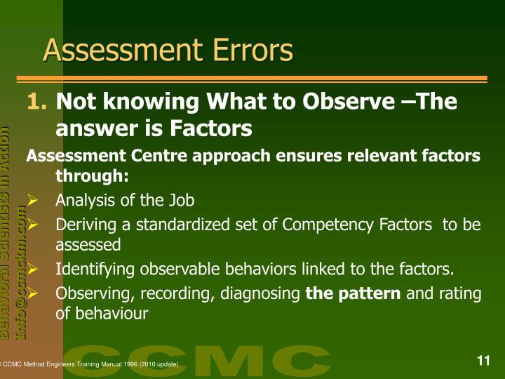 Assessment Errors