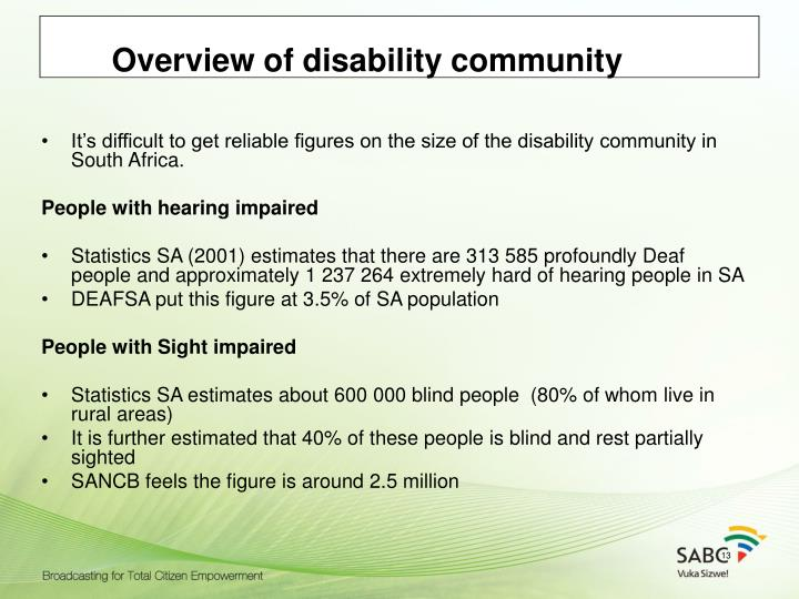Overview of disability community