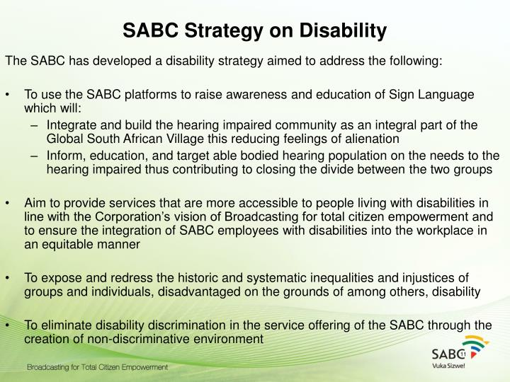 SABC Strategy on Disability