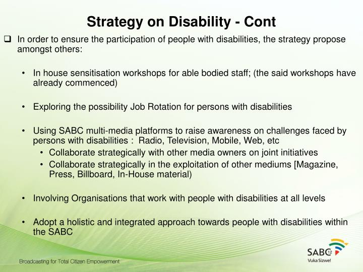 Strategy on Disability - Cont