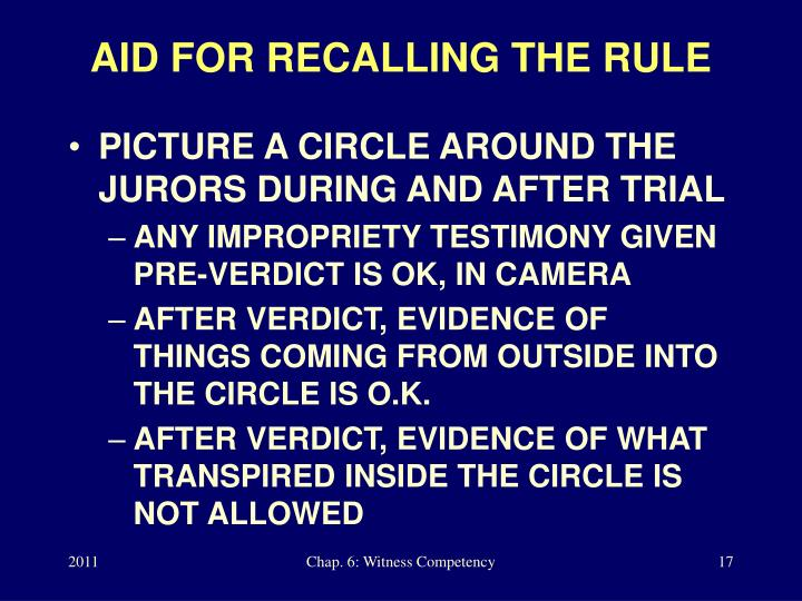 AID FOR RECALLING THE RULE