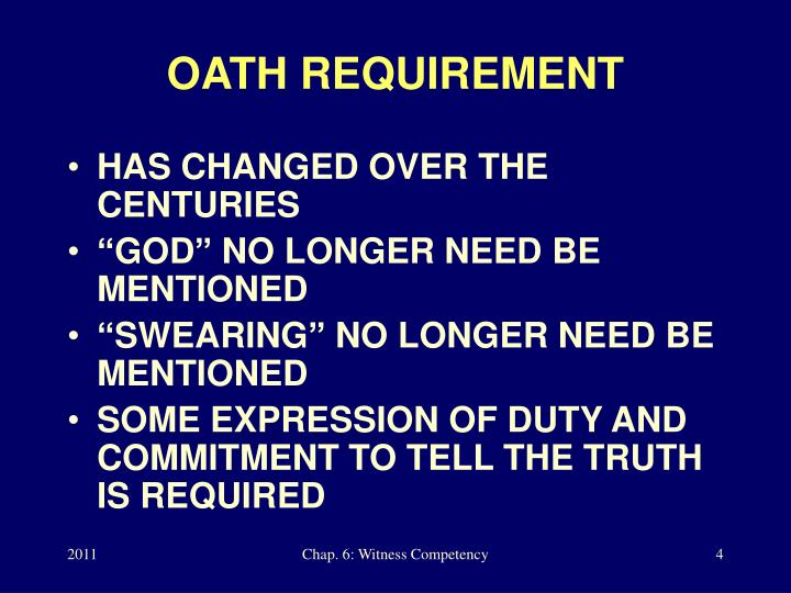 OATH REQUIREMENT