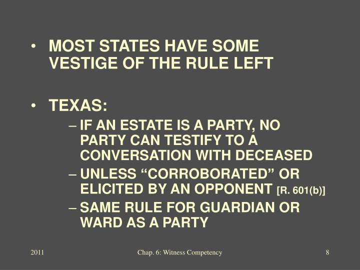 MOST STATES HAVE SOME VESTIGE OF THE RULE LEFT