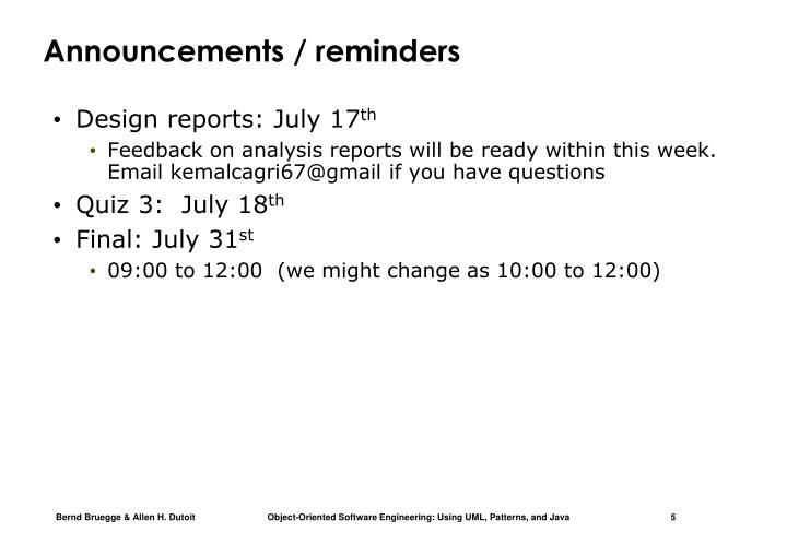 Announcements / reminders