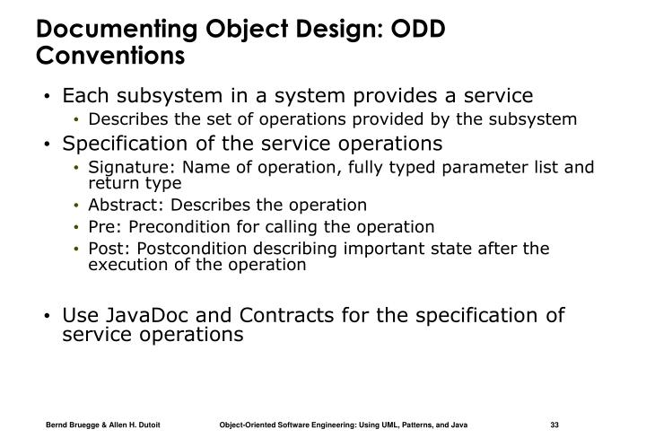 Documenting Object Design: ODD Conventions