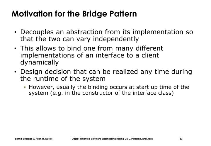 Motivation for the Bridge Pattern
