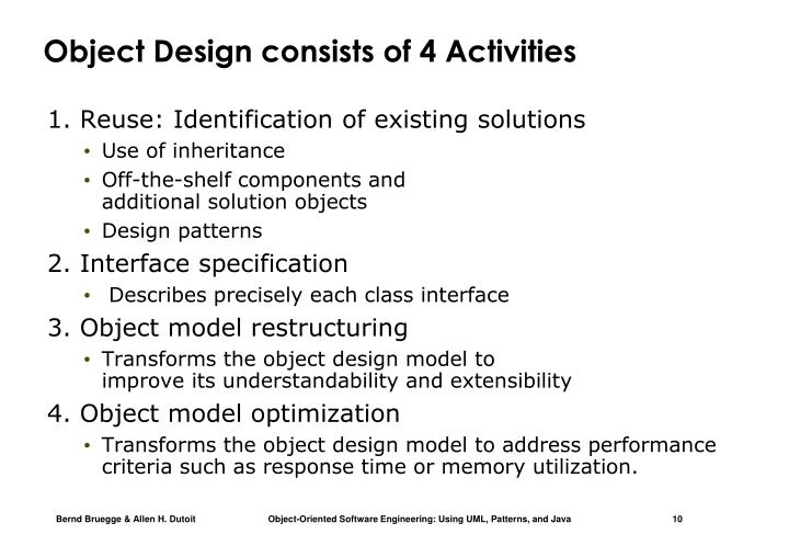 Object Design consists of 4 Activities