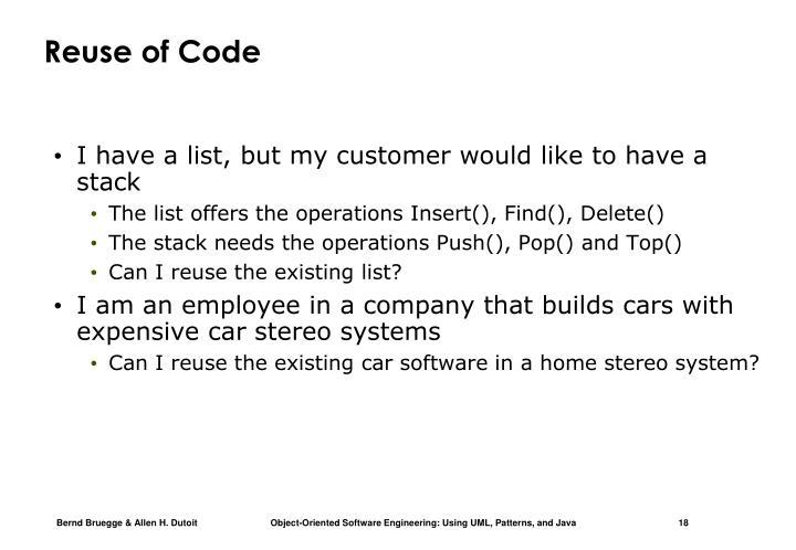 Reuse of Code