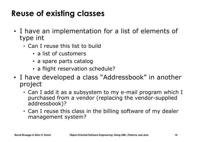 Reuse of existing classes