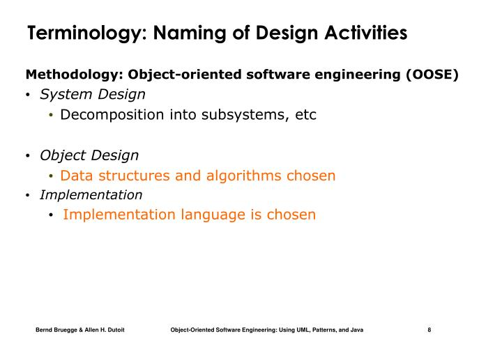 Terminology: Naming of Design Activities