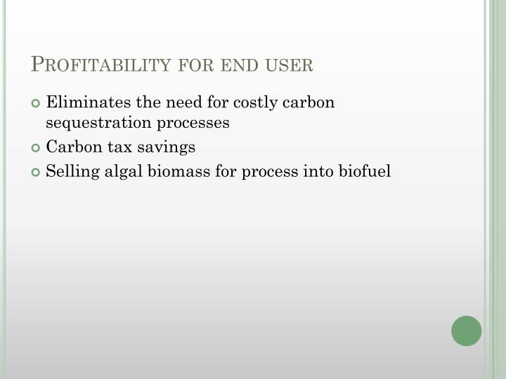 Profitability for end user