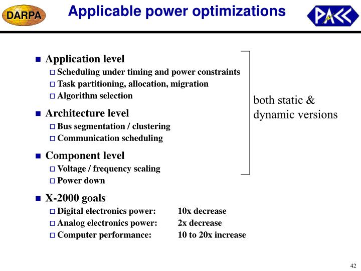 Applicable power optimizations