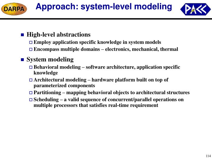 Approach: system-level modeling