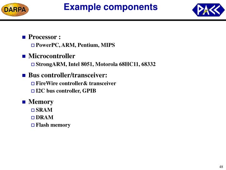 Example components
