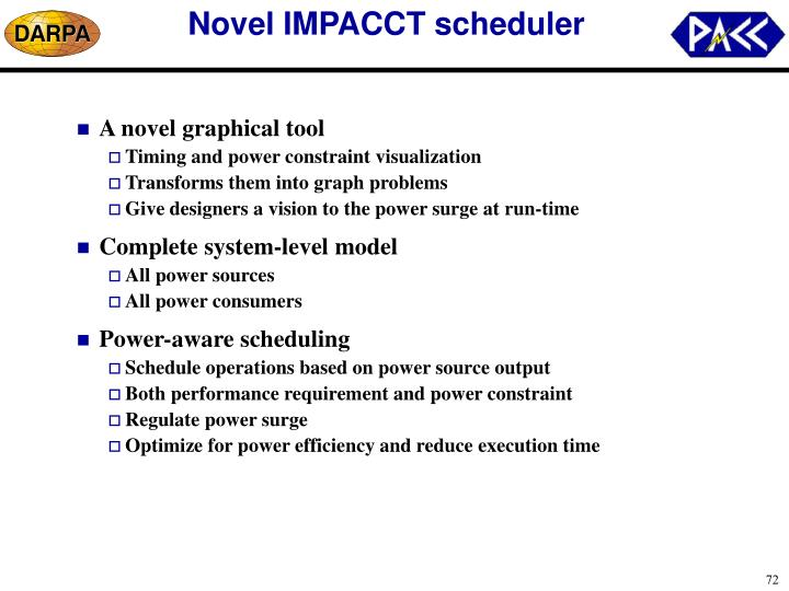 Novel IMPACCT scheduler