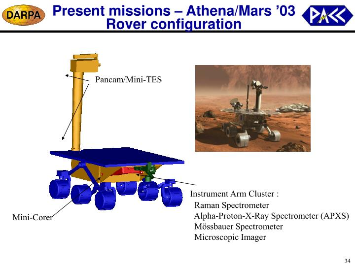 Present missions – Athena/Mars '03 Rover configuration